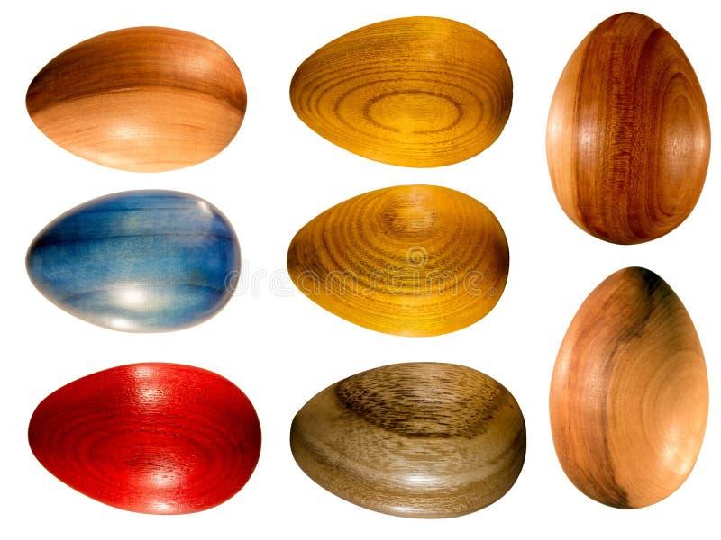 Paaseieren van hout worden gemaakt dat stock foto's