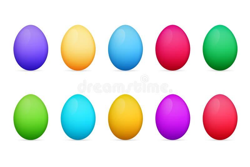 Paaseieren van verschillende kleuren Kleurrijke Eieren royalty-vrije illustratie