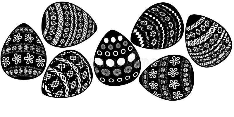 7 paaseierengrens met geometrisch ornament op de witte achtergrond vector illustratie