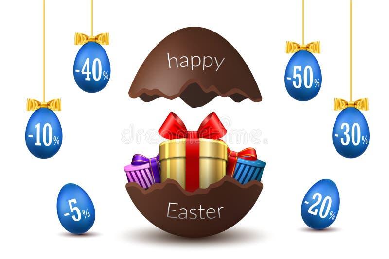 Paaseierenverkoop Het gebroken Gelukkige Pasen-3D malplaatje van het chocoladeei isoleerde witte achtergrond Ontwerpbevordering,  vector illustratie