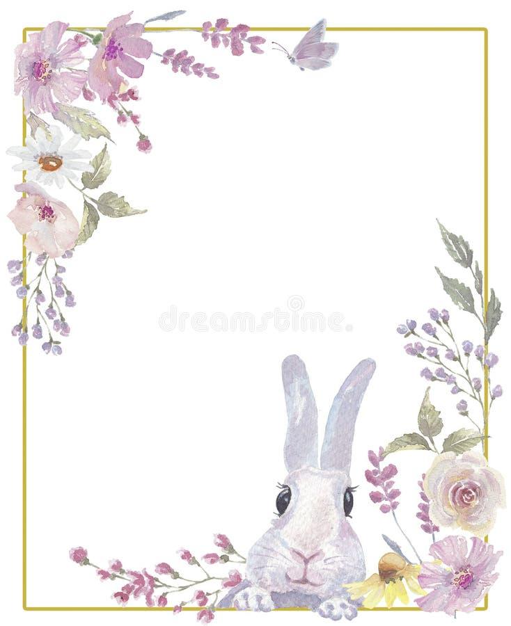 Paashaas bloemenkroon stock foto