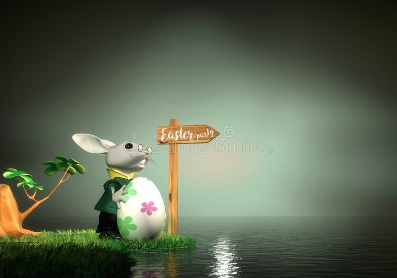 Paashaas die de manier aan Pasen-partij, het 3D Teruggeven vinden stock illustratie