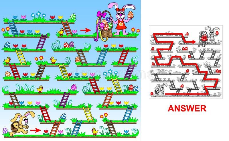 Paashaas die naar (vierkante) paaseieren zoeken vector illustratie