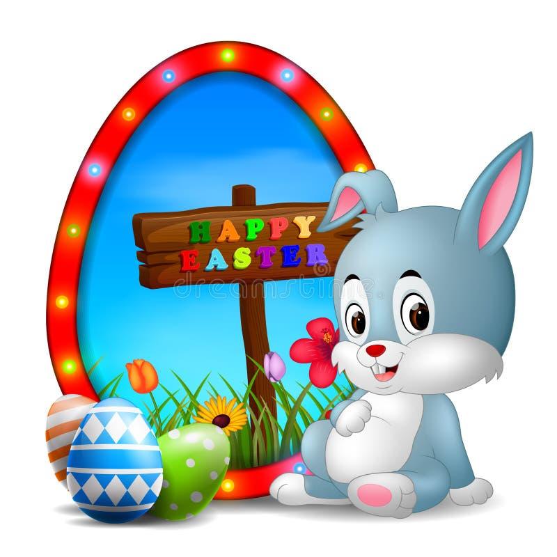 Paashaas en eieren met kaderei stock illustratie