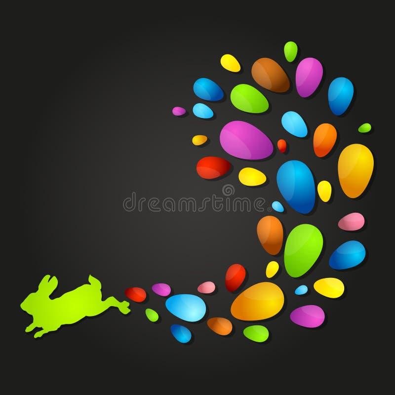Paashaas en gekleurde eieren royalty-vrije illustratie