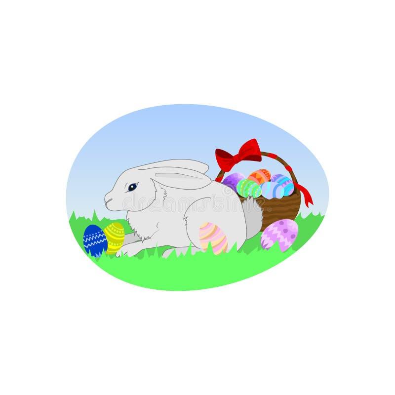 Paashaas en paaseieren in een mand stock illustratie