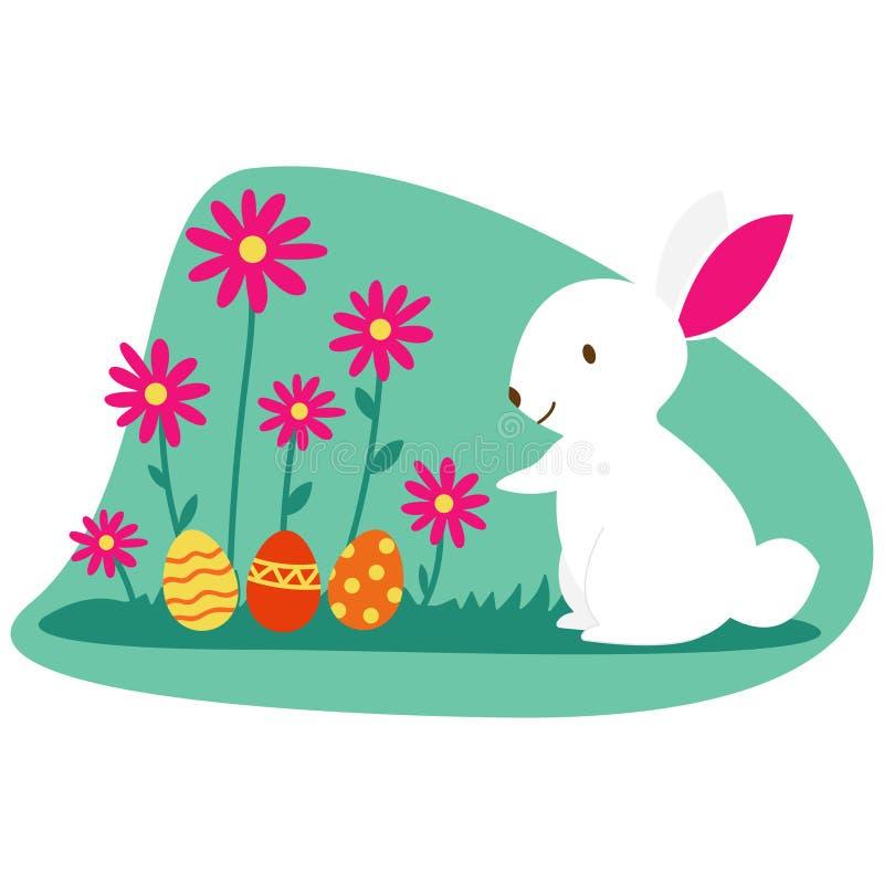 Paashaas en paaseieren op groen gras beeldverhaalillustratie van leuk wit konijn die paaseieren voorbereiden Rij van stock illustratie