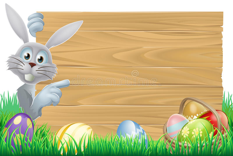 Paashaas en van de eierenmand teken vector illustratie