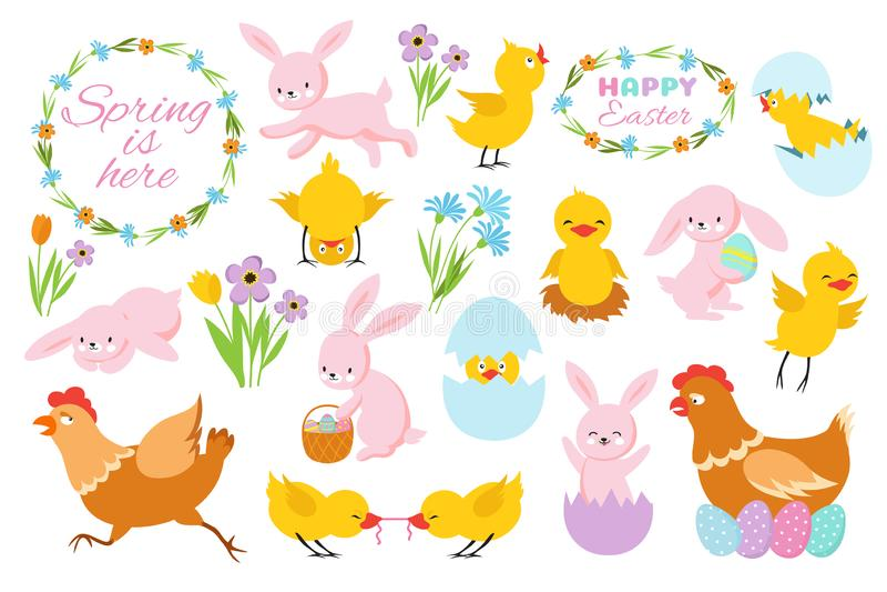 Paashaas, kuikens en de lentebloemen Grappige konijnen, babykippen en eieren De lente vectorreeks van beeldverhaalpasen stock illustratie
