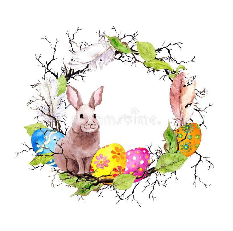 Paashaas met gekleurde eieren, takken, de lentebladeren, veren Uitstekende kroon watercolor stock illustratie