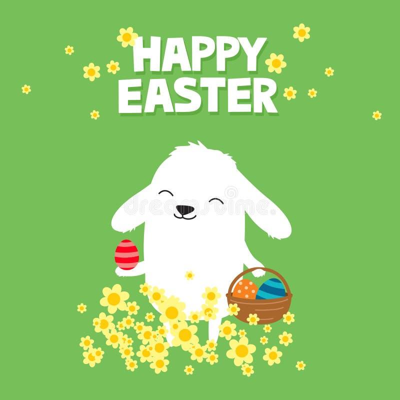 Paashaas met mand van eieren en bloemen op een groene achtergrond De leuke kaart van de beeldverhaalgroet stock illustratie