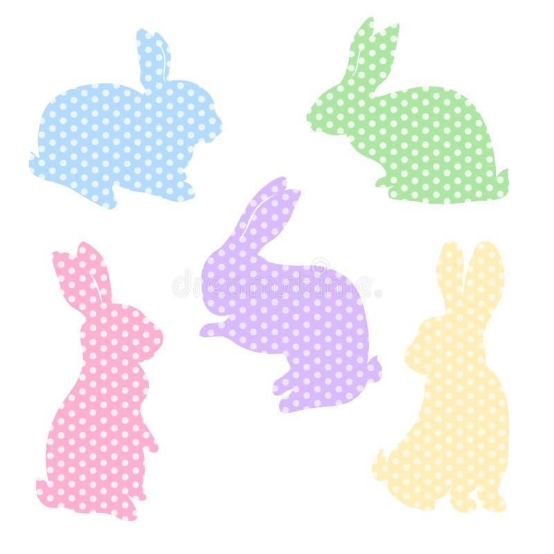 Paashaaskonijn Kleurrijke konijntjes in stippen voor decoratieachtergronden Reeks voor het verwijderen van stickers en malplaatje vector illustratie