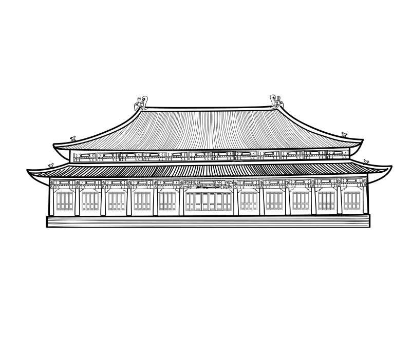 Pabellón asiático buidling Casa en el estilo de China del asiático Arco chino ilustración del vector