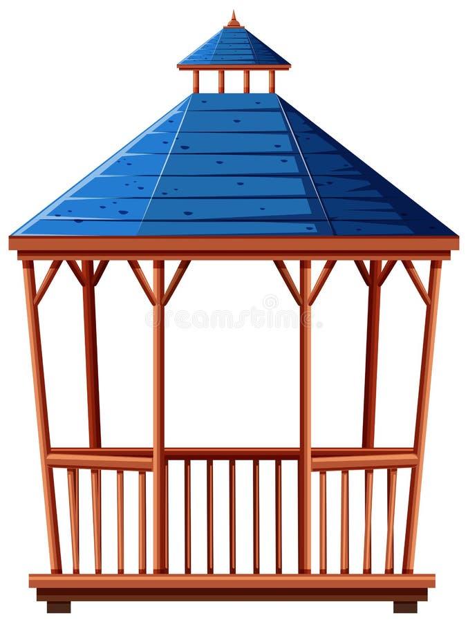Pabellón con el tejado azul stock de ilustración
