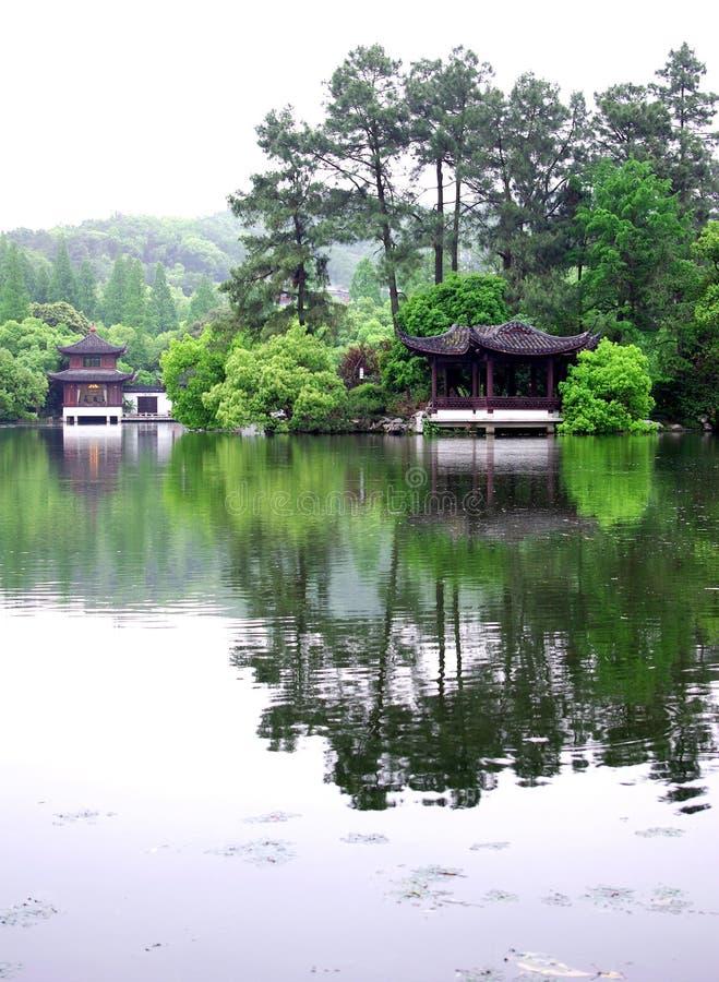 Pabellón en el lago del oeste Hangzhou imagen de archivo