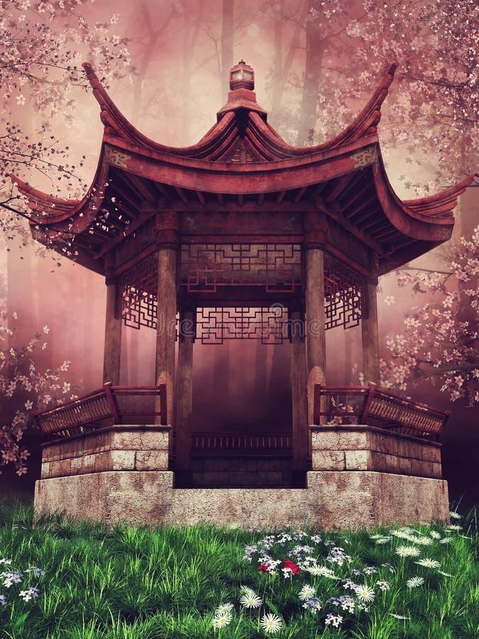 Pabellón oriental con las flores stock de ilustración