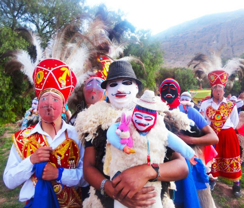 Pablitos和Chunchos在队伍在神圣的谷 免版税库存照片