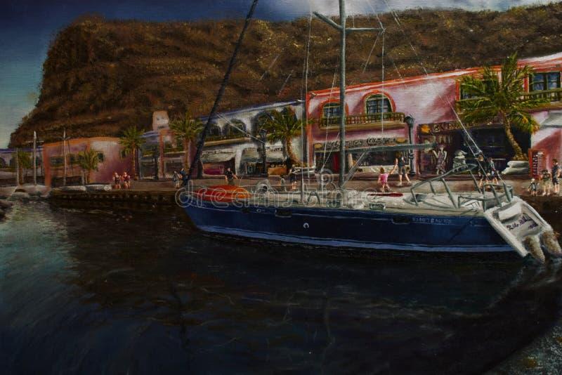 Pablo Alba Painting van Puerto DE Mogan in Canarische Eilanden royalty-vrije stock fotografie