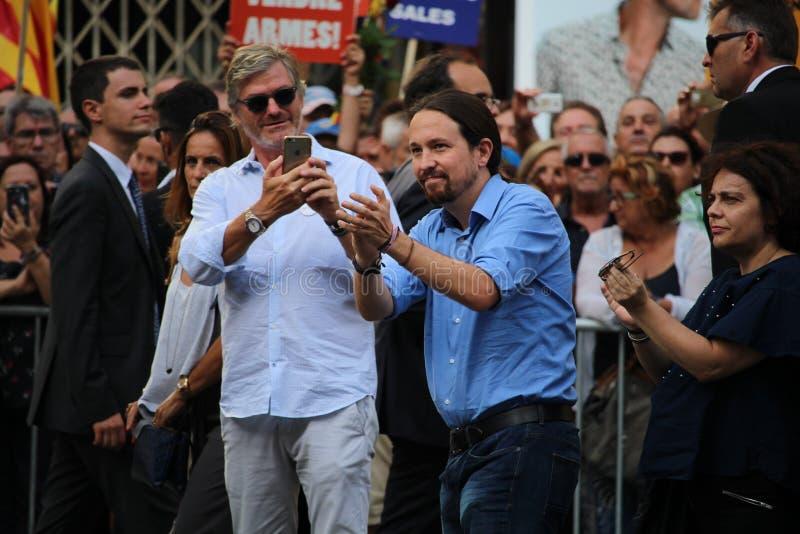 Pablo Iglesias de Podemos na manifestação contra o terrorismo imagens de stock