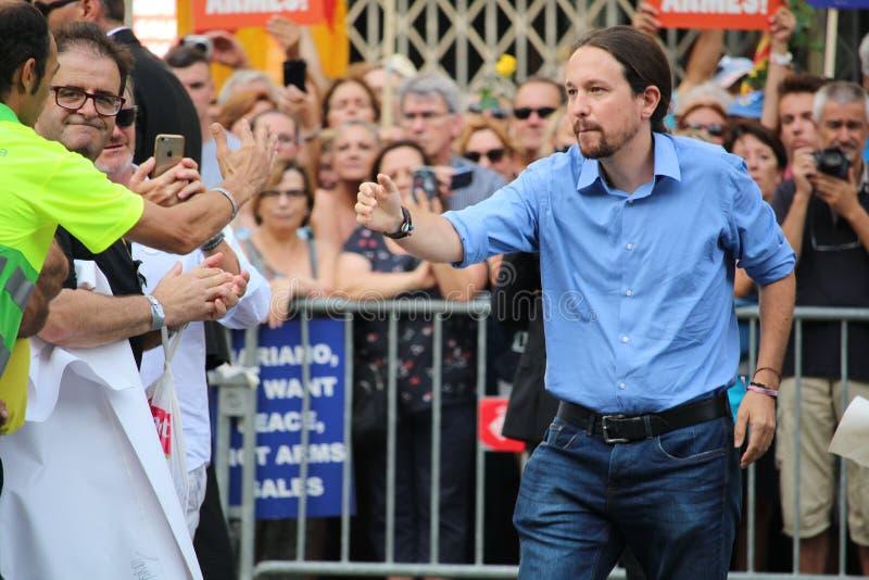 Pablo Iglesias na manifestação contra o terrorismo imagem de stock
