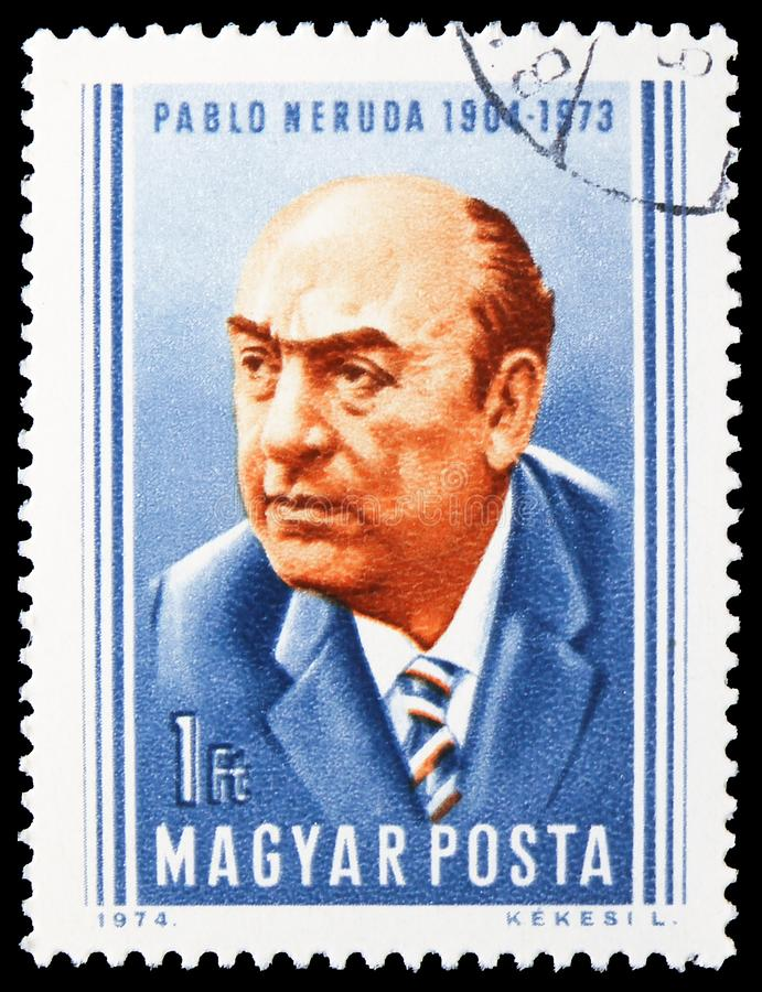 Pablo Neruda, serie dos povos, cerca de 1974 imagens de stock royalty free