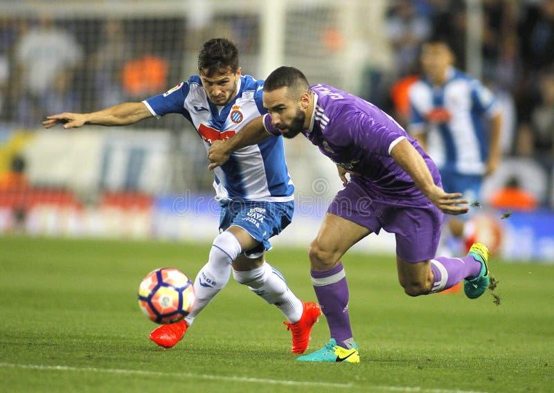 Pablo Piatti del RCD Espanyol e Dani Carvajal del Real Madrid fotografie stock libere da diritti