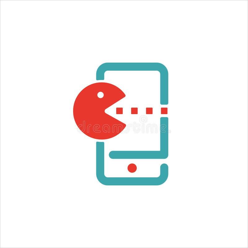 Pac人在智能手机屏幕传染媒介例证的比赛象 向量例证