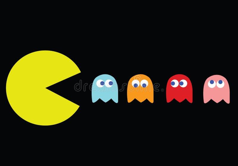 Pac-hombre con sus enemigos stock de ilustración