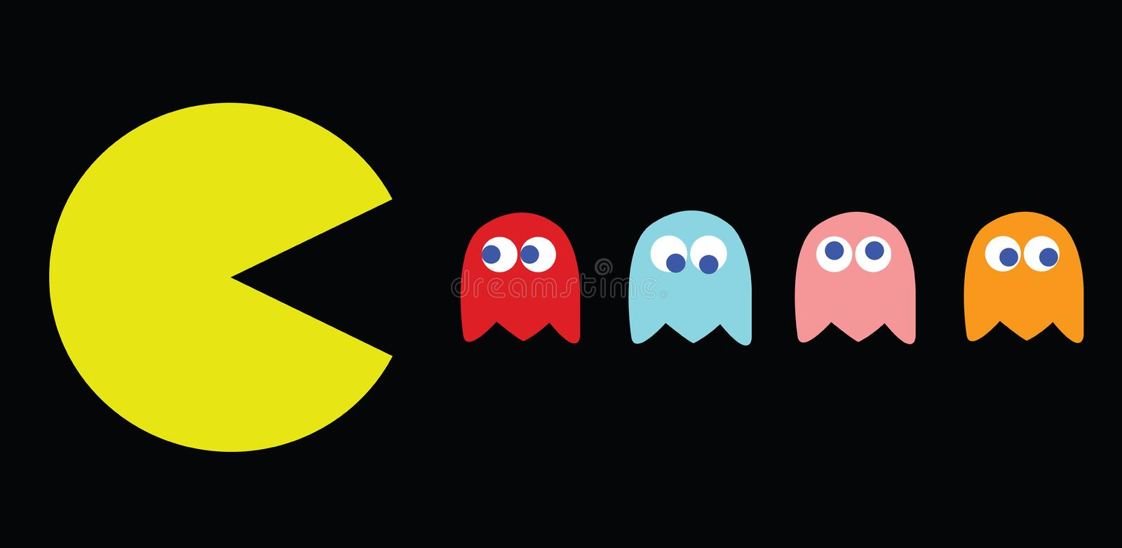 Pac-Man vector illustration, retro game characters stock images