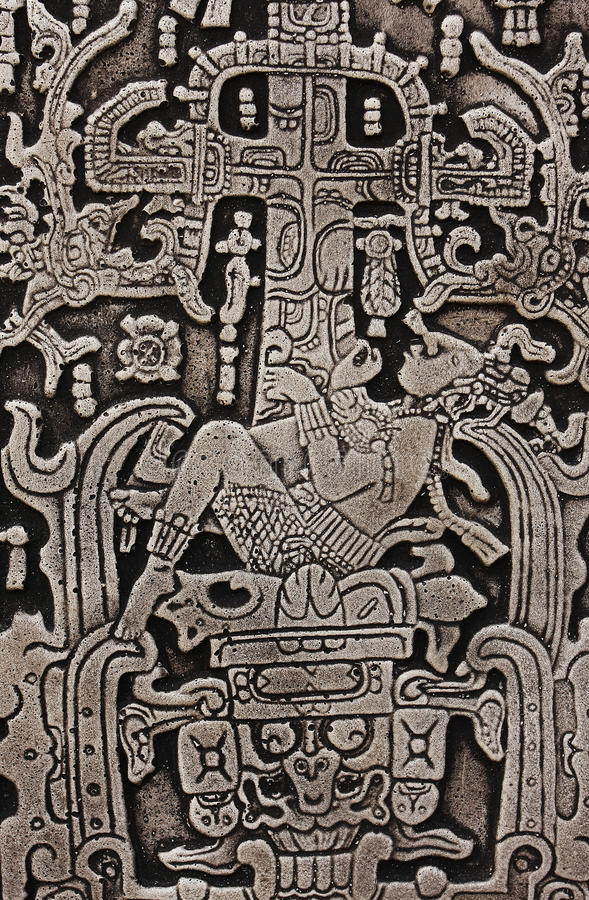 Pacal the Great of Palenque stone carve. King Pacal the Great of Palenque carve royalty free stock photography