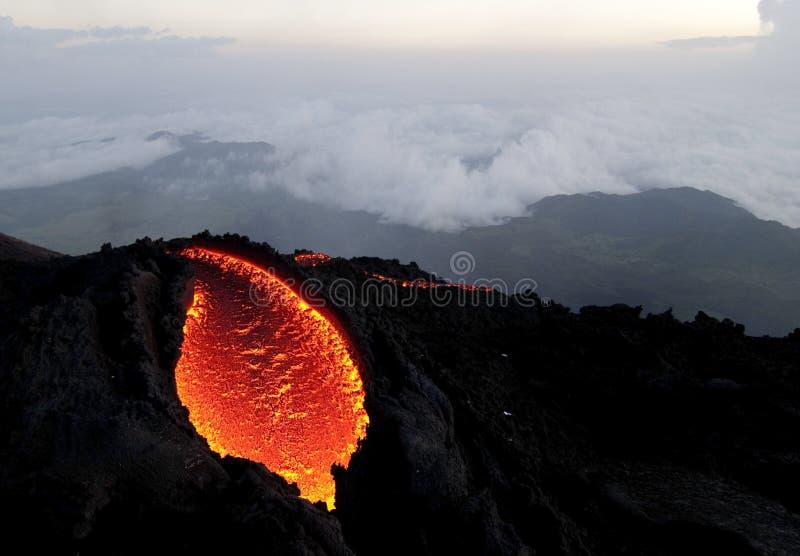 The Pacaya vulkan is bleeding stock photos