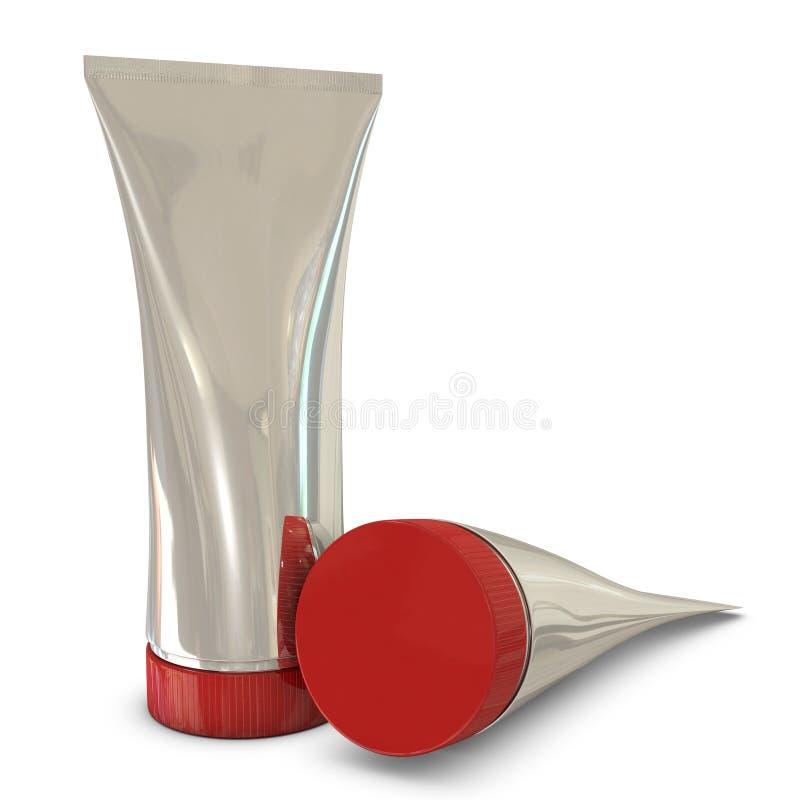 Pacchetti d'argento del tubo con le protezioni rosse illustrazione di stock