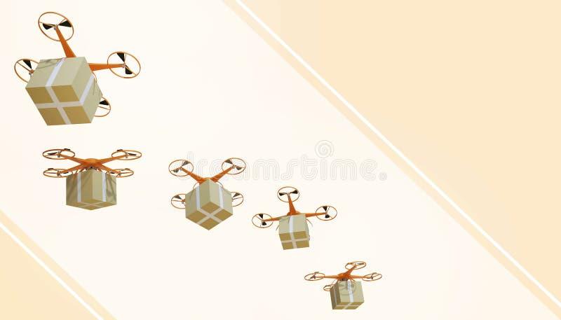Pacchetti del quadcopter del fuco e trasportato nell'acquisto online di logistica alta tecnologia sul fondo giallo pastello di co royalty illustrazione gratis