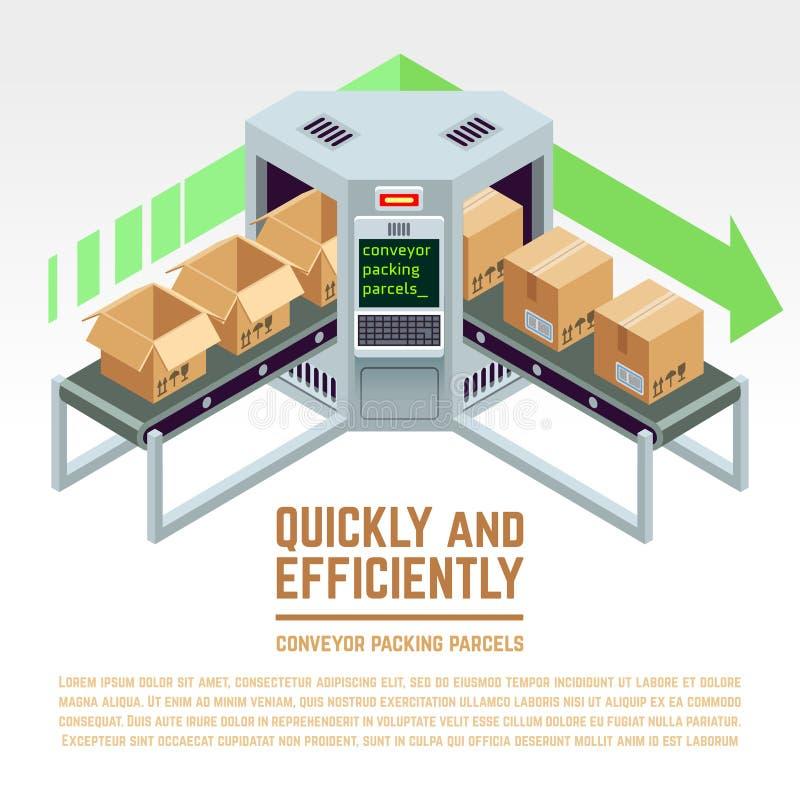 Pacchetti dell'imballaggio del trasportatore concetto isometrico di vettore 3D illustrazione vettoriale