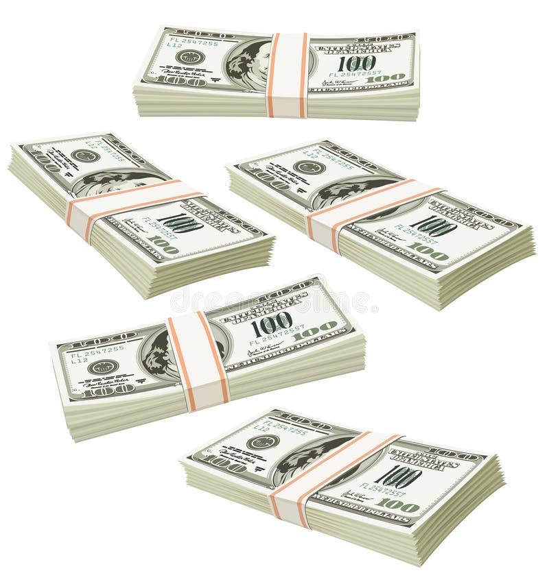 Pacchetti volanti dei soldi dei dollari isolati illustrazione vettoriale