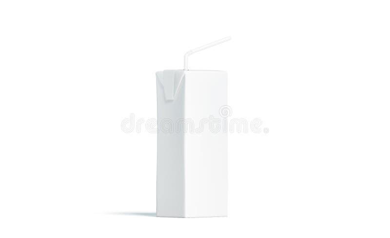 Pacchetto bianco in bianco con il modello della paglia, vista laterale del succo immagini stock libere da diritti