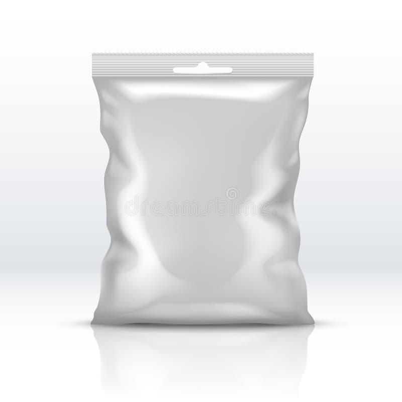 Pacchetto bianco in bianco della stagnola isolato Illustrazione realistica di vettore del pacchetto di plastica della polvere illustrazione di stock