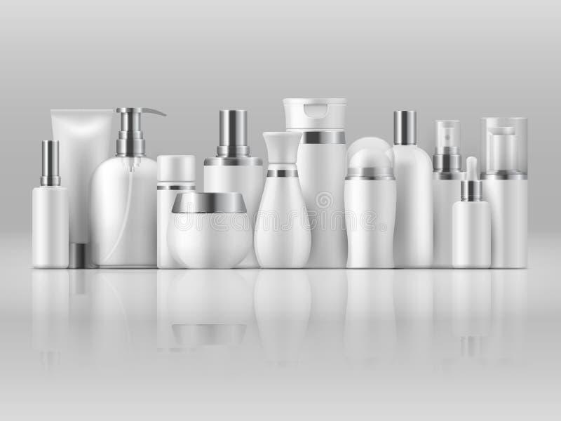 Pacchetto cosmetico del prodotto Modello d'imballaggio in bianco bianco del prodotto della lozione 3D dello sciampo del modello d illustrazione vettoriale