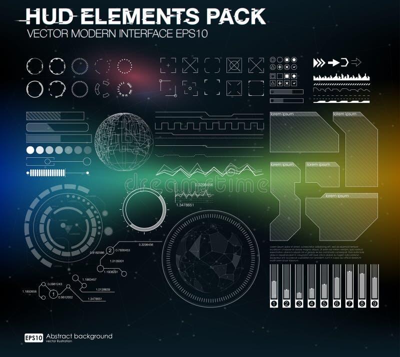 Pacchetto degli elementi di HUD Interfaccia moderna di vettore Illustrazione astratta di vettore della priorità bassa Interfaccia illustrazione vettoriale