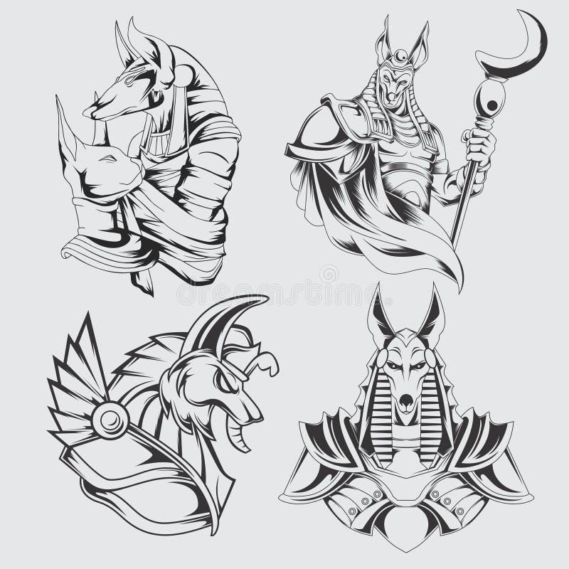 Pacchetto del carattere di Anubis illustrazione di stock