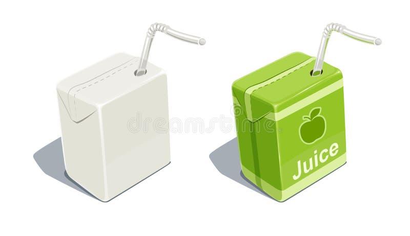 Pacchetto del cartone con lo spazio in bianco del tubo per il succo di mele illustrazione di stock