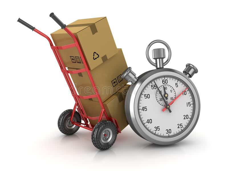 Pacchetto del cartone e del carrello a mano con il cronometro illustrazione vettoriale