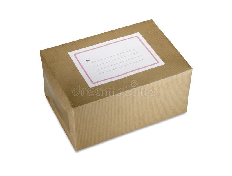 Pacchetto del documento di Brown con il percorso di residuo della potatura meccanica in bianco del contrassegno fotografia stock