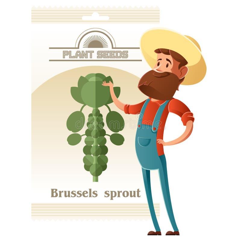 Pacchetto del seme dei cavolini di Bruxelles royalty illustrazione gratis