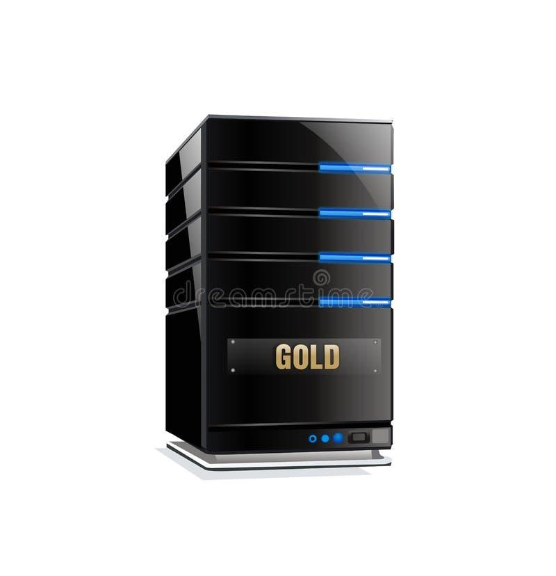 Pacchetto del server ospite dell'oro illustrazione vettoriale