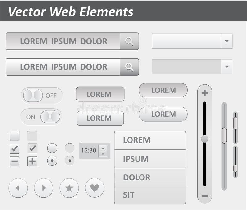 Pacchetto del vettore piano del corredo di ui di progettazione per webdesign nel colore rosa Insieme di elementi piano di progett illustrazione di stock