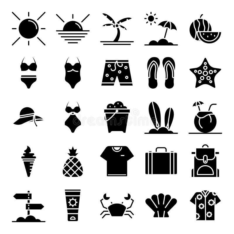 Pacchetto delle icone di estate fotografie stock