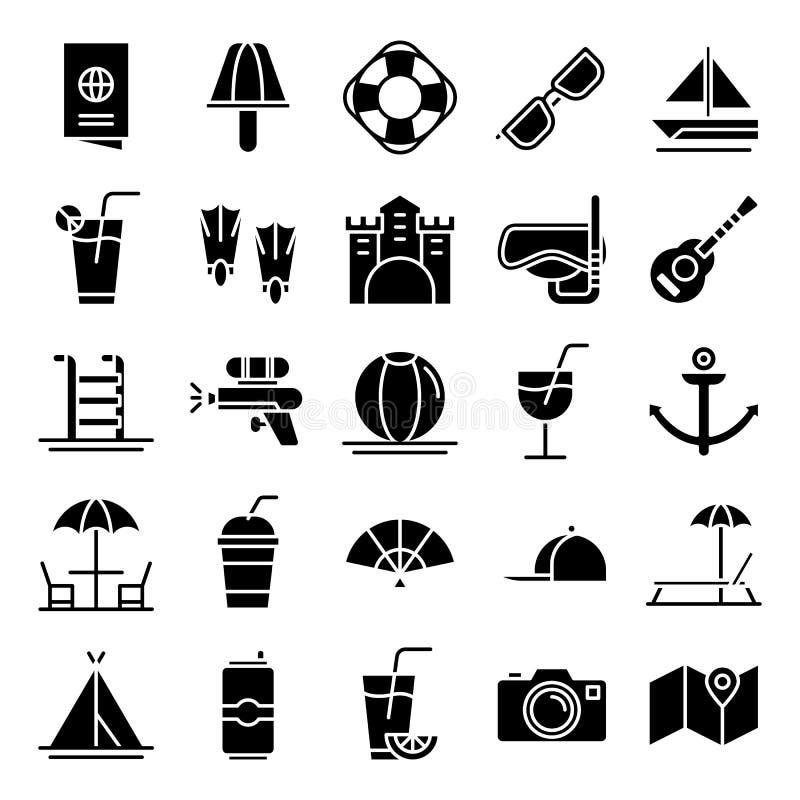 Pacchetto delle icone di estate immagini stock