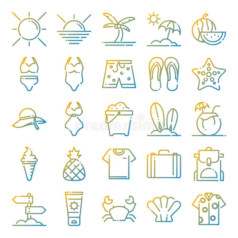 Pacchetto delle icone di estate immagine stock