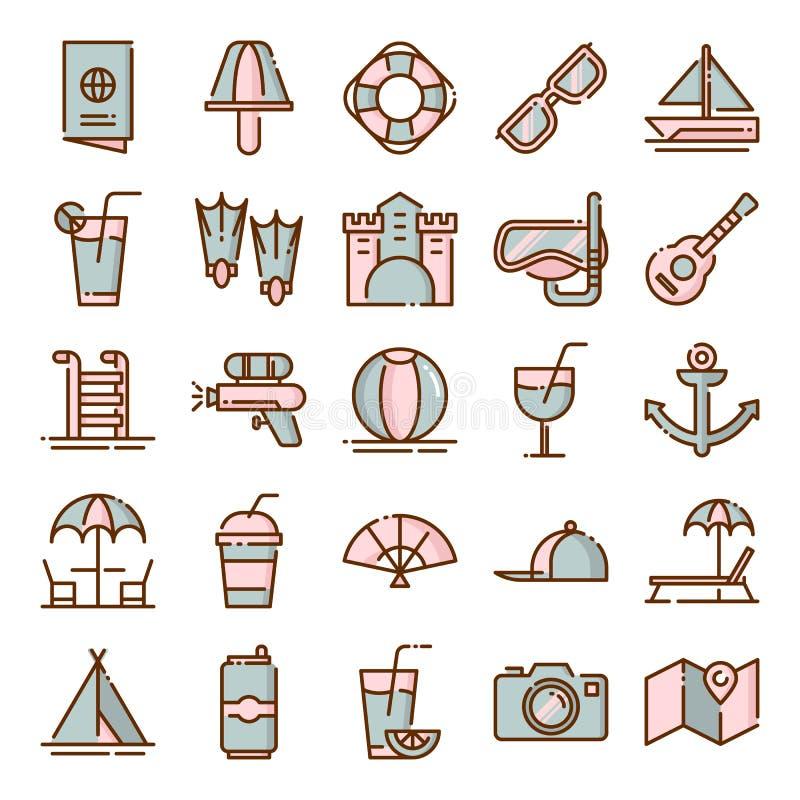 Pacchetto delle icone di estate fotografia stock